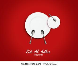 Eid al Adha Mubarak greeting card with for restaurant or food brand. Traditional Muslim holiday. Eid al Adha Mubarak concept background - Shutterstock ID 1995721967