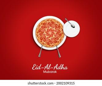 Eid al Adha Mubarak greeting card with for restaurant or pizza brand. Traditional Muslim holiday. Eid al Adha Mubarak pizza concept background - Shutterstock ID 2002109315