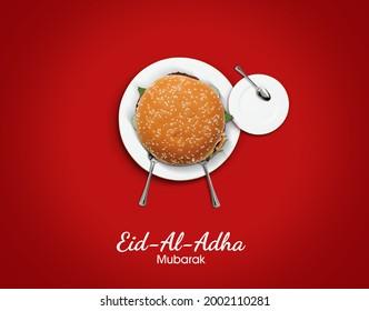 Eid al Adha Mubarak greeting card with for restaurant or burger brand. Traditional Muslim holiday. Eid al Adha Mubarak burger concept background - Shutterstock ID 2002110281
