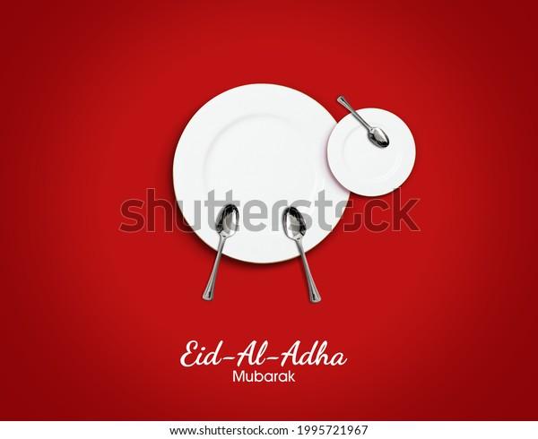 Eid al Adha Mubarak greeting card with for restaurant or food brand. Traditional Muslim holiday. Eid al Adha Mubarak concept background