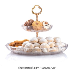 Eid Al-Fitr Cookies, Muslim Lesser Holiday Snacks Isolated on White