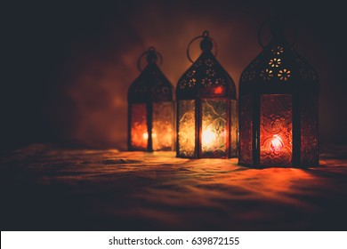 Eid colorful lamps or lanterns for Ramadan and other islamic muslim holidays, with copy space for text.