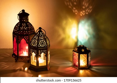 Eid decorative traditional lamps illuminated and ready for the Holy season of Ramadan. - Shutterstock ID 1709136625