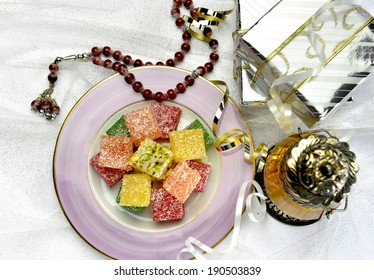 Eid gift with sweet and lantern - top angle