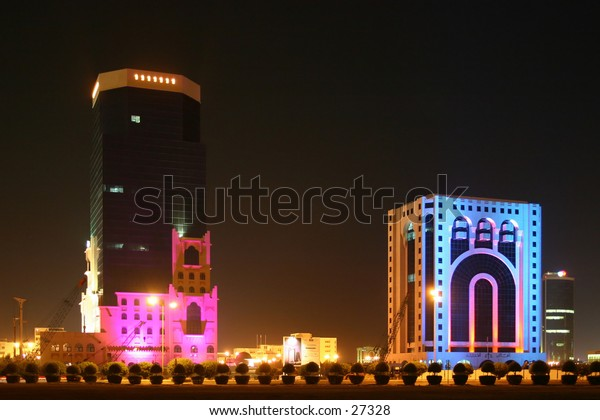 Eid holiday illuminations in Qatar, Arabia in 2004. The building on the right is one of the local courts.