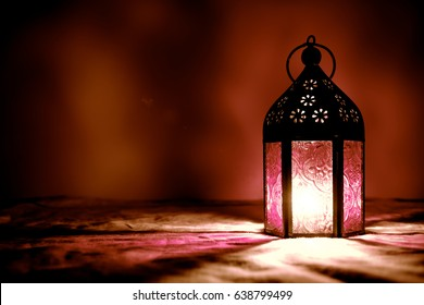 Eid lamp or lantern for Ramadan and other islamic muslim holidays, with copy space for text.