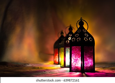 Eid lamps or colorful lanterns for Ramadan and other islamic muslim holidays, with copy space for text.