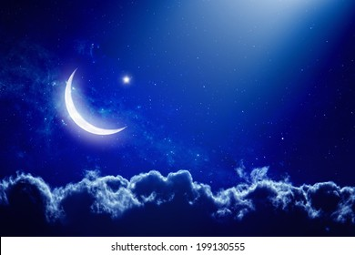 Eid Mubarak background with moon and stars, holy month, Ramadan Kareem. Elements of this image furnished by NASA