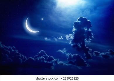 Eid Mubarak background with moon and stars, holy month, Ramadan Kareem, light from above