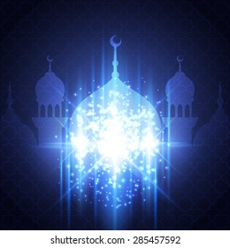 Eid Mubarak Greeting Card with mosque and lights. Festive islamic background