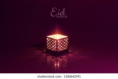 Eid mubarak meaning Blessed eid with beautiful lantern in the background