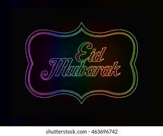 Eid Mubarak template of sparkle text on black background.