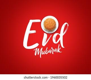 Eid Mubarak-Burger food and white plate shape of eid or Ramadan moon concept of eid celebration. Burger on red background restaurant Eid concept. - Shutterstock ID 1960035502