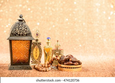 Eid and Ramadan background showing traditional Islamic celebration items