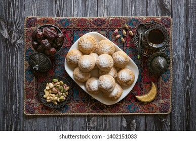 "Eid and Ramadan Dates Sweets - Arabian cuisine. Egyptian cookies ""Kahk El Eid"". Top view."