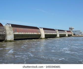Eider Flood Barrier called Eidersperrwerk,Toenning,North Frisia,Schleswig-Holstein,Germany
