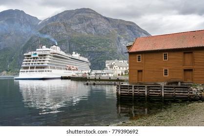 EIDFJORD, NORWAY - 21 SEPTEMBER 2017: Viking Star cruise ship docked at the quayside in Eidfjord in Norway
