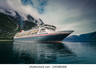 Eidfjord, Norway - July 2017 Cruise ship Balmoral approaching the port in Eidfjord, Norway