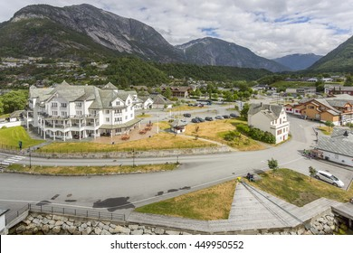 Eidfjord, Norway. JUNE 2016. The town of Eidfjord, situated at the end of the Hardangerfjord in western Norway.