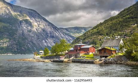 Eidfjord village on the banks of Stavangerfjord in Hordaland province Norway