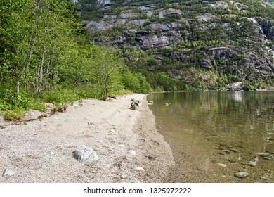 Eidfjordvatnet, moraine-dammed lake in the municipality of Eidfjord in Hordaland County, Norway