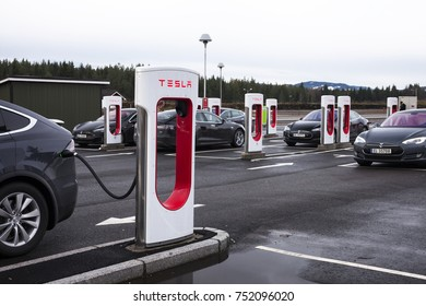 Eidsvoll Verk, Norway - October, 2017: Nebbenes Supercharger station with it's 20 superchargers. is one of the biggest Tesla charging stations in Europe.