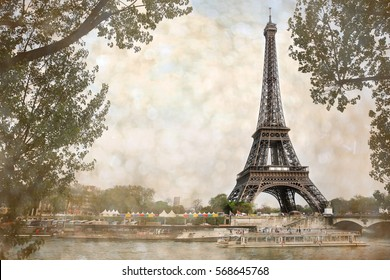 eiffel tour over Seine river waters at summer day with bokeh, Paris, France