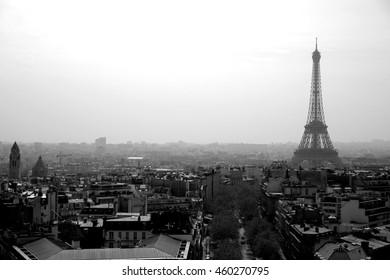 eiffel tour and Paris cityscape in B & W vintage tone