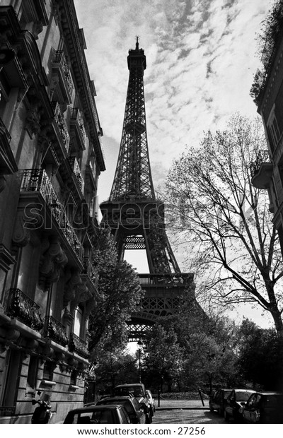 Eiffel Tour in Spring in Black and White, view from a surburban flats