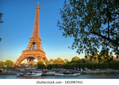 The Eiffel Tower across the River Seine in Paris, France.