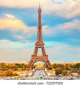 Eiffel Tower at autumn sunny evening, Paris