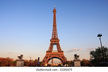 eiffel tower before sunset, in romantic city