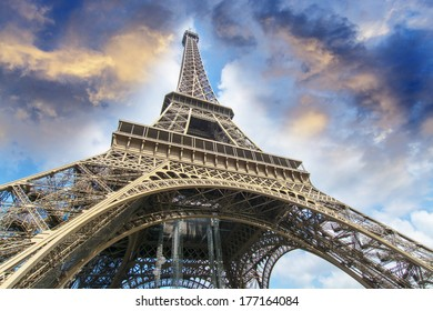 The Eiffel Tower from below.