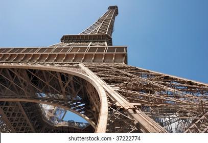 The Eiffel Tower from below upwards in Paris, France.