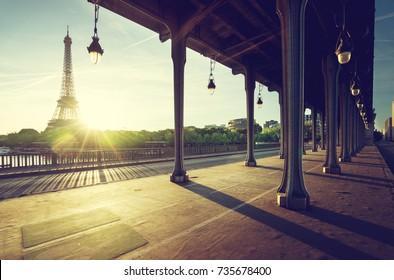 Eiffel Tower from Bir-Hakeim metal bridge in the morning, Paris, France