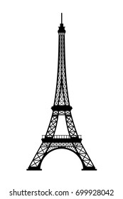 Eiffel tower black silhouette on white background, 3D rendering