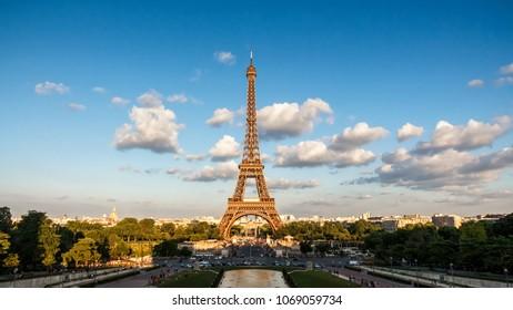 The Eiffel Tower with blue sky, landmark of Paris, France