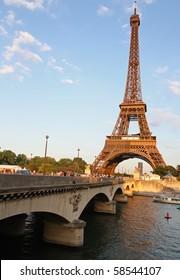 Eiffel Tower, Bridge and River