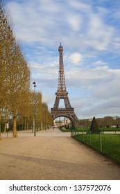 Eiffel tower from Champ de Mars after sunrise
