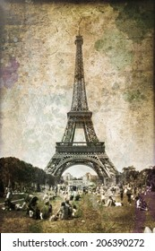Eiffel tower and Champ de mars, vintage style