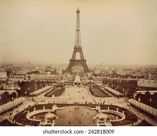 Eiffel Tower and Champ de Mars seen from Trocadero Palace, Paris Exposition, 1889.