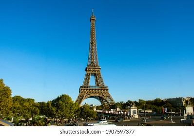 Eiffel Tower with clear sky in summer