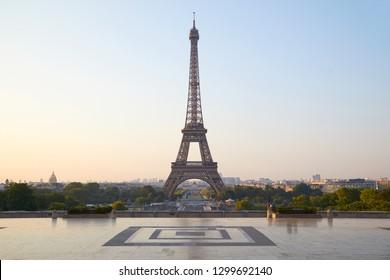 Eiffel tower, clear sunrise at Trocadero, nobody in Paris, France