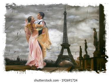 Eiffel Tower Dancing couple Torn Edges
