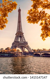 Eiffel tower during the autumn in Paris at sunset