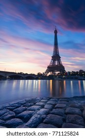 Eiffel Tower during the blue hour. Paris, France