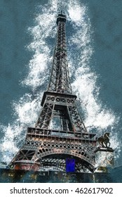 Eiffel tower at dusk, above clouds. viewd from seine. Vintage painting, background illustration, beautiful picture, travel texture