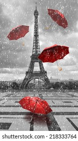 Eiffel tower with flying umbrellas. Black and white with red element