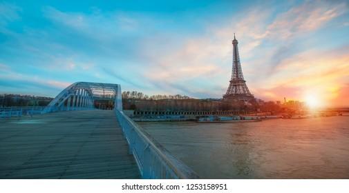 Eiffel tower in the foreground river Seine - Paris, France