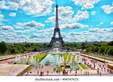 Eiffel Tower and fountain at Jardins du Trocadero in Paris, France